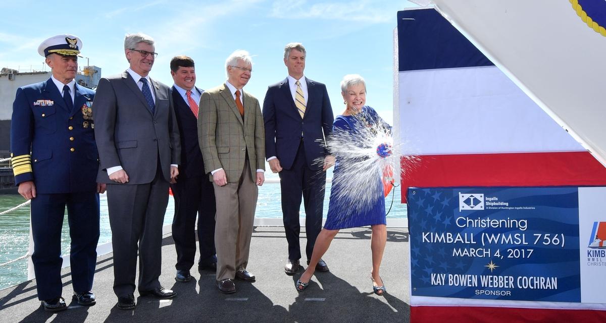 Ingalls Shipbuilding Christens National Security Cutter Kimball (WMSL 756)