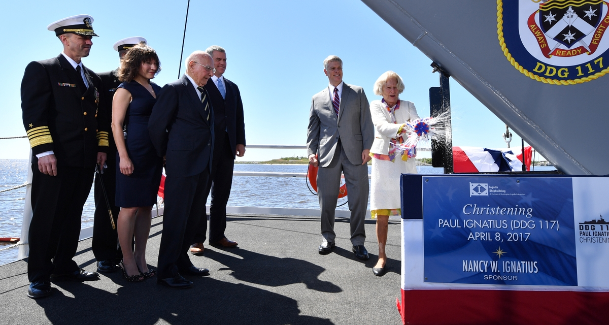 Ingalls Shipbuilding Christens Destroyer Paul Ignatius (DDG 117)