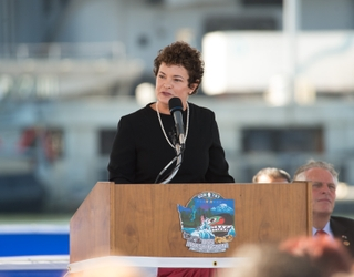 Jennifer Boykin at Washington (SSN 787) Commissioning