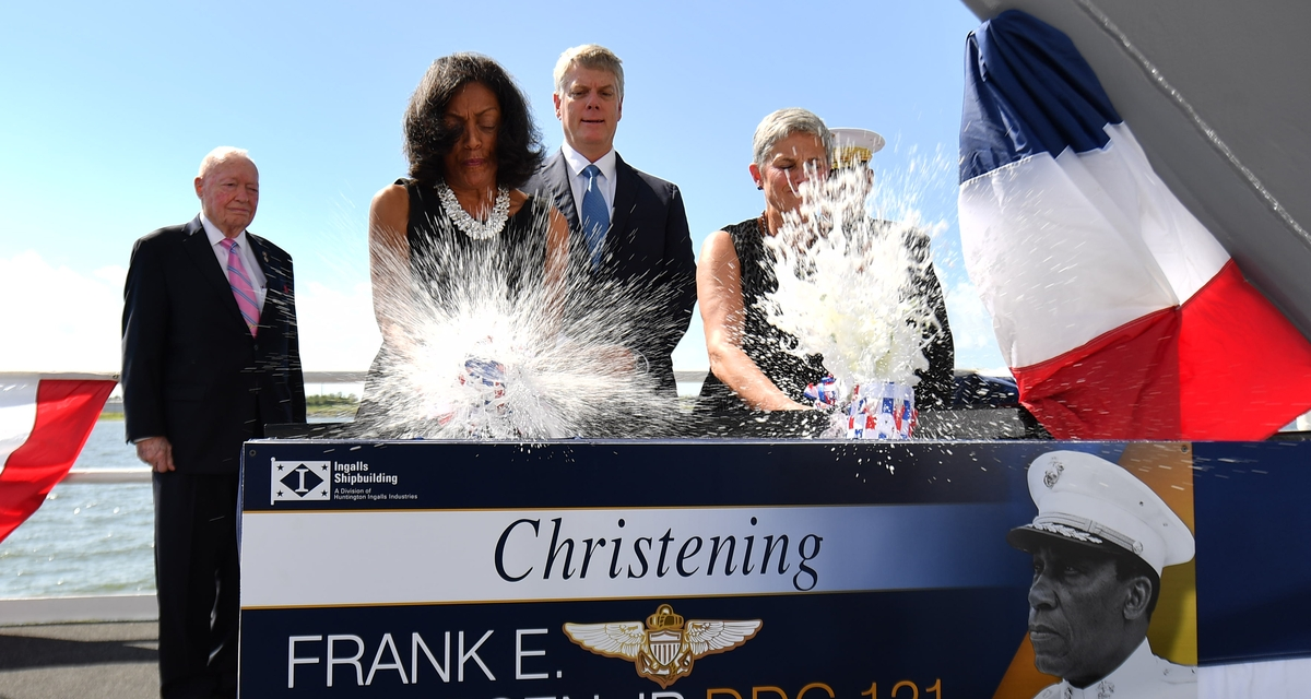Ingalls Shipbuilding Christens Destroyer Frank E. Petersen Jr. (DDG 121)