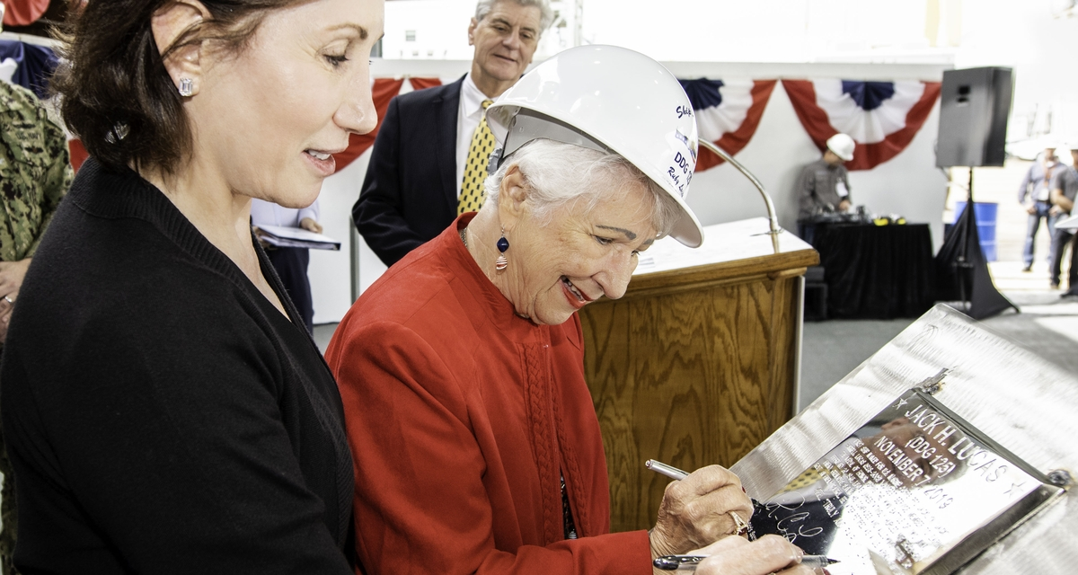 Ingalls Shipbuilding Authenticates Keel of Guided Missile Destroyer Jack H. Lucas (DDG 125)