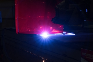 A Plasma-burning Machine Cuts the Steel Plate