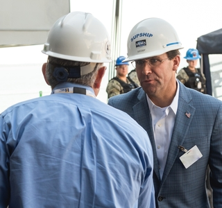 Photo Release--Secretary of Defense Mark Esper Visits Newport News Shipbuilding