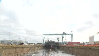 John F. Kennedy (CVN 79) Dry Dock Flooding B-Roll