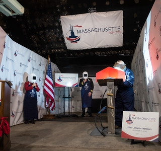 Photo Release — Huntington Ingalls Industries Authenticates Keel of Virginia-Class Attack Submarine Massachusetts (SSN 798)