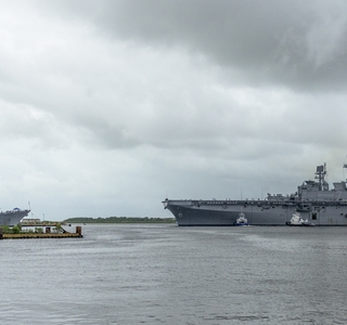 Photo Release -- Amphibious Assault Ship Tripoli (LHA 7)  Sails Away from Ingalls Shipbuilding