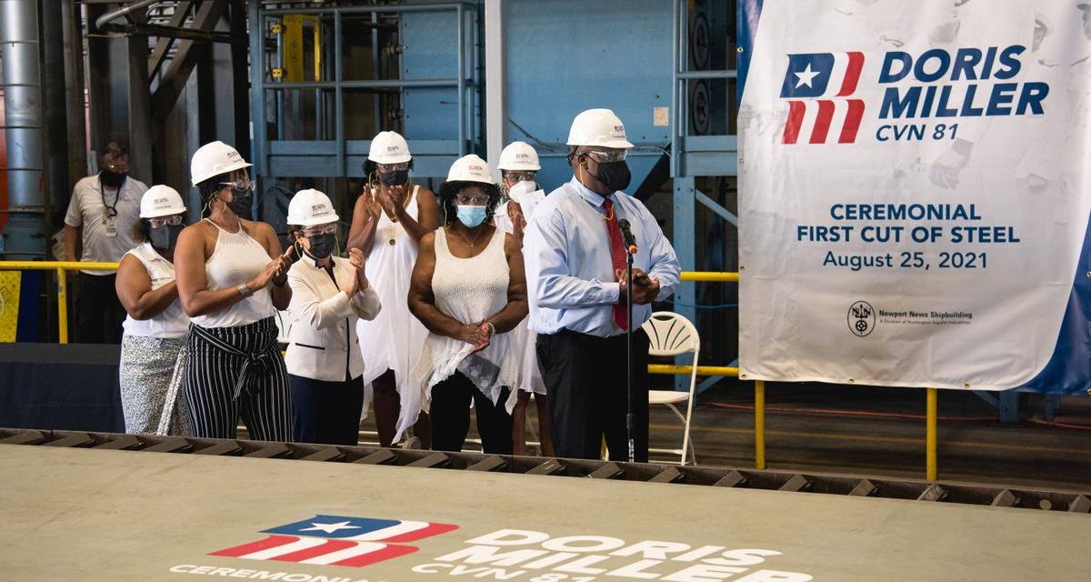Huntington Ingalls Industries Celebrates Ceremonial First Cut of Steel for the Aircraft Carrier Doris Miller (CVN 81)