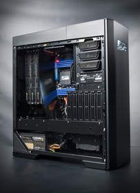 The Mach V is Falcon Northwest's most elite desktop system. Fully customizable from the hardware to exotic paintwork in any color you can imagine, each one is a masterpiece of handcrafted silicon. This Mach V features NVIDIA SLI technology with 3 GeFor...