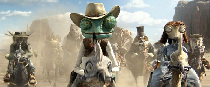 Center to right, foreground: Rango (Johnny Depp) and Beans (Isla Fisher) in RANGO, from Paramount Pictures and Nickelodeon Movies. Photo credit: Courtesy of Paramount Pictures (C) 2011 Paramount Pictures. All Rights Reserved.