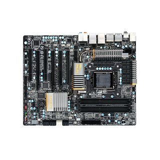 The new Gigabyte P67/Sandy Bridge motherboard features support for NVIDIA SLI technology.
