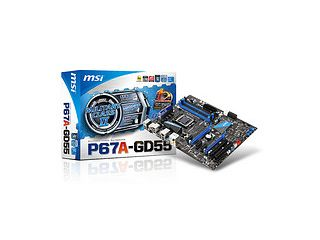 The new MSI P67A-GD55 motherboard features support for NVIDIA SLI technology.