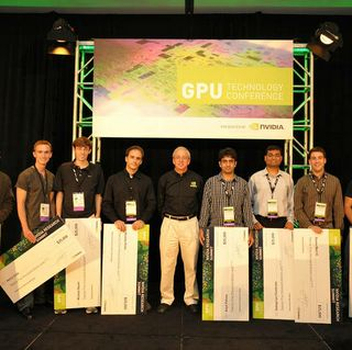 NVIDIA 2010 Graduate Fellowship Award winners with NVIDIA chief scientist Dr. Bill Dally (center).