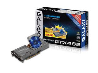 The new Galaxy GeForce GTX 465 features a unique Flip Fan design with Blue LED.
