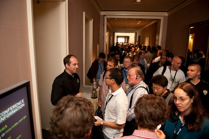 Crowds get ready to attend pre-conference tutorials at GTC 2009.