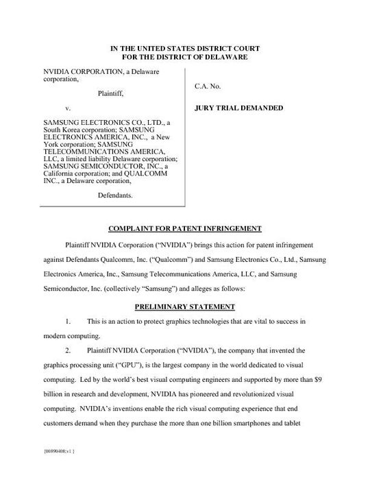 NVIDIA's U.S. District Court, Delaware, Complaint