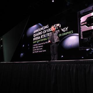 NVIDIA CEO Jensen Huang announcing Quadro GV100 GPU at GTC