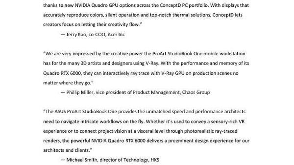 ASUS ProArt StudioBook One industry quotes