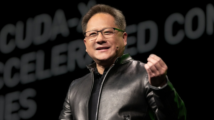 Jensen Huang speaking at the NVIDIA GPU Technology Conference in 2019.
