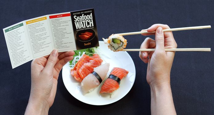 The Seafood Watch Sushi Pocket Guide provides consumers with an easy way to check for sustainable seafood choices. ©Monterey Bay Aquarium
