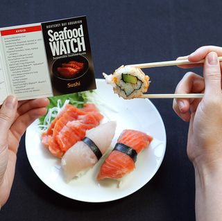 The Seafood Watch Sushi Pocket Guide provides consumers with an easy way to check for sustainable seafood choices. © Monterey Bay Aquarium