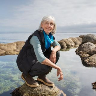 Julie Packard, Executive Director of the Monterey Bay Aquarium in the Great Tide Pool at the Monterey Bay Aquarium. Must credit:  ©Corey Arnold