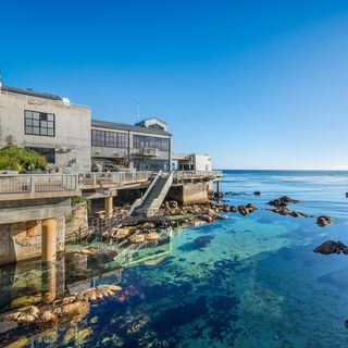 Scenic shot of the Great Tide Pool and exterior back deck of the Monterey Bay Aquarium. ©Monterey Bay Aquarium
