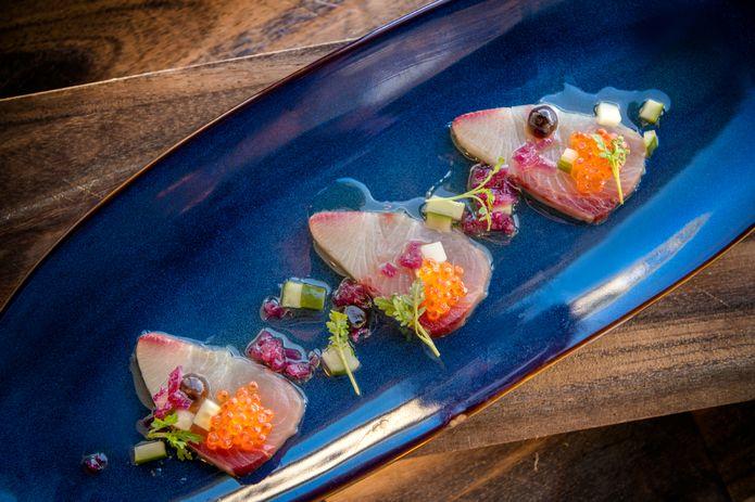 Hamachi crudo dish.©Monterey Bay Aquarium