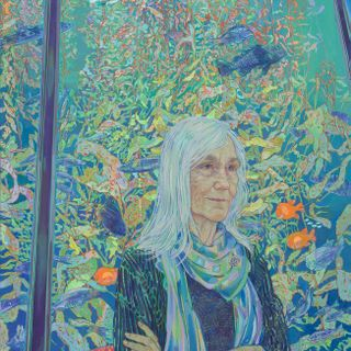 Portrait of Monterey Bay Aquairum Executive Director Julie Packard by Artist Hope Gangloff, acrylic on canvas, 2019