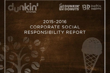 Dunkin' Brands Releases 2015-16 Corporate Social Responsibility Report