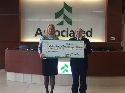 Associated Bank presents $10,000 Match Day check to The Salvation Army of Brown County