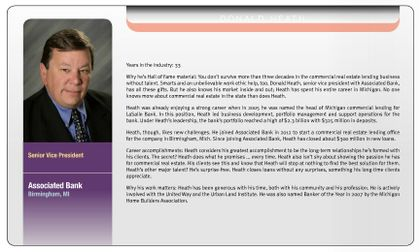 Donald Heath, senior vice president, Associated Bank, recognized in the 2014 Midwest CRE Hall of Fame
