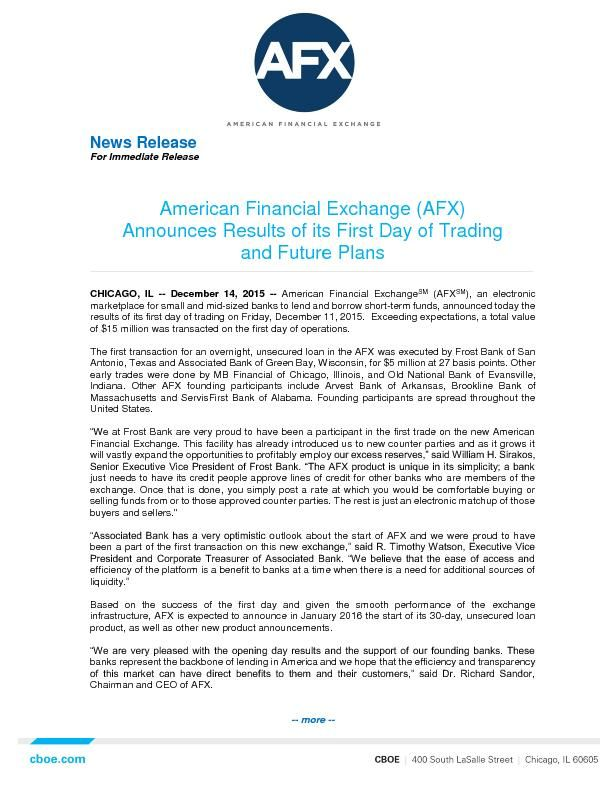 American Financial Exchange (AFX) Announces Results of its First Day of Trading and Future Plans