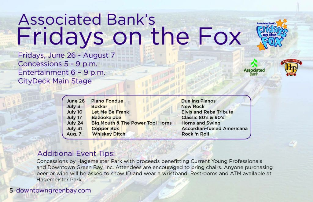 Associated Bank's Friday's on the Fox returns to downtown Green Bay, featuring non-profit partners