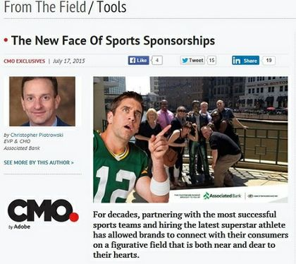 Associated Bank's Christopher Piotrowski featured in CMO with his article 'The New Face Of Sports Sponsorships'
