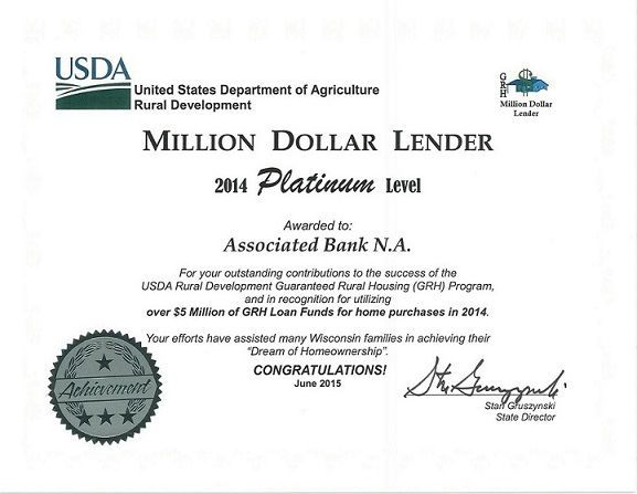 Associated Bank awarded certificate of achievement from USDA