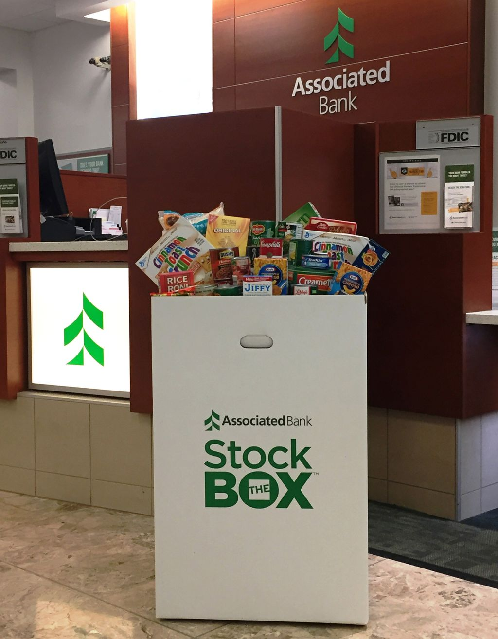 Associated Bank will host a Stock the Box for Hunger food collection campaign in branches and corporate offices in Wisconsin, Illinois and Minnesota through December.