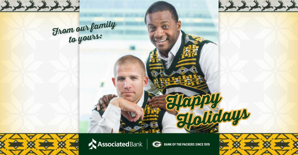 Visit Associated Bank's Facebook page to share this extra-special holiday card from Associated Bank, Jordy Nelson and Randall Cobb