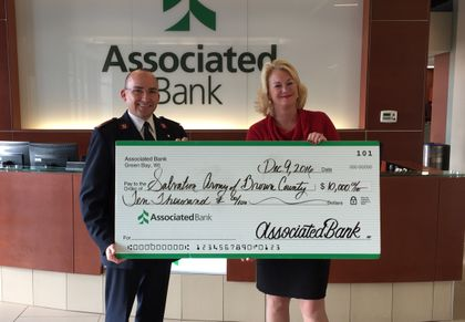 Associated Bank presents $10,000 Match Day check to The Salvation Army of Greater Green Bay