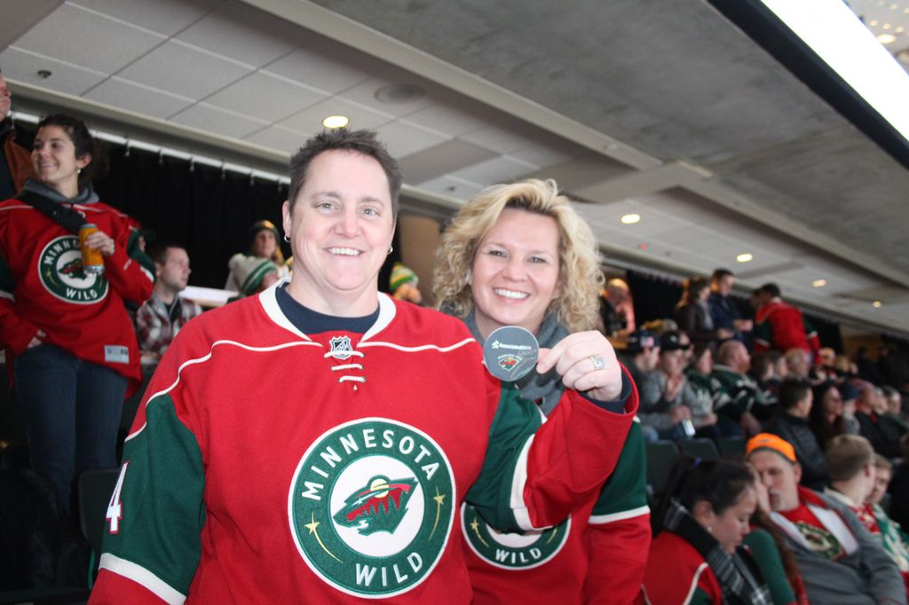 A lucky winner found a winning puck sticker at Xcel Energy Center during a recent game as part of Associated Bank's Puck Drop.