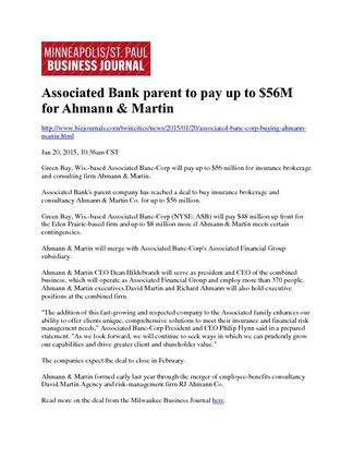 Associated Banc-Corp and Ahmann & Martin Co.