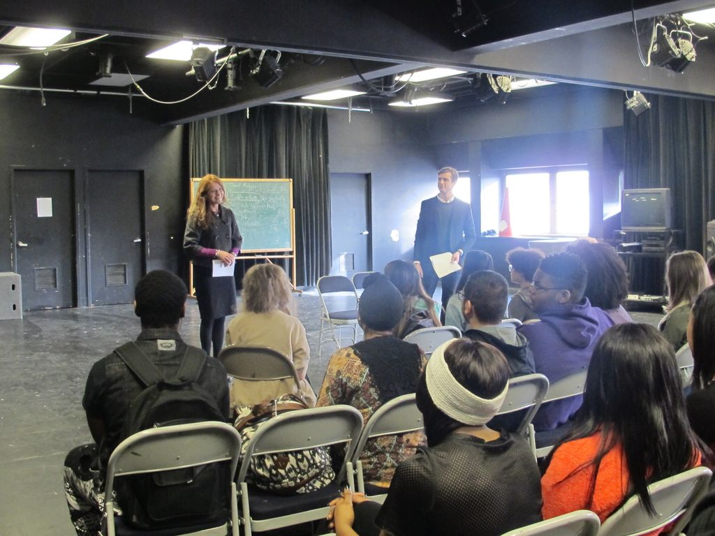 Sara Walker of Associated Bank presents to students in Cabaret acting workshop.