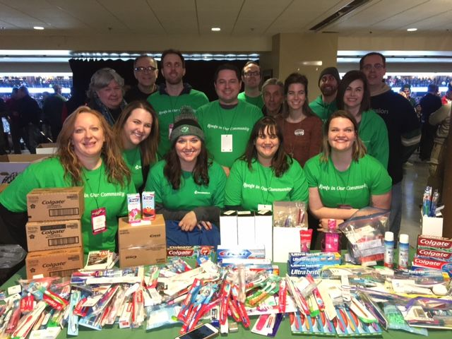 Associated Bank volunteers collected dental supply donations for Union Gospel Mission' Hope Dental Clinic