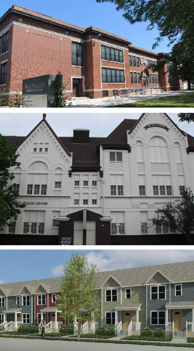 Pictured top to bottom: Washington School Apartments, Fifth Street Senior Apartments and rendering of Washington Park Townhomes