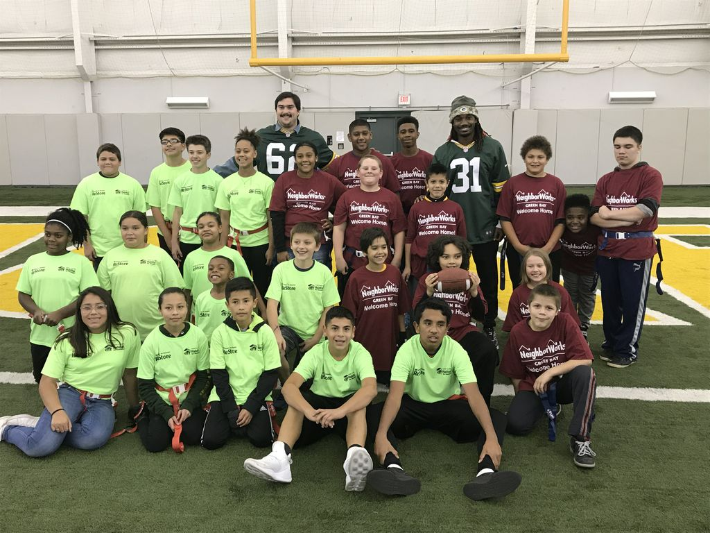 Associated Bank's Flag Football event gives local youth opportunity to meet and play football with two Green Bay Packers players