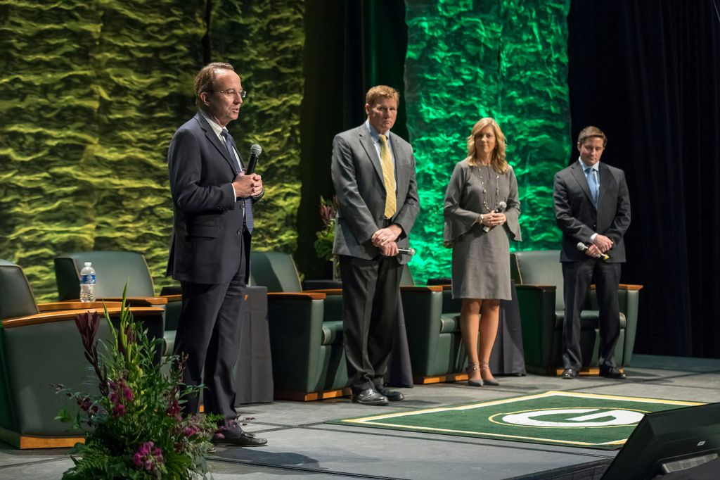 Pictured from left: Philip B. Flynn, Associated Bank; Mark Murphy, Green Bay Packers; Christine Loose, Kohler Company; and Ed Policy, Green Bay Packers.