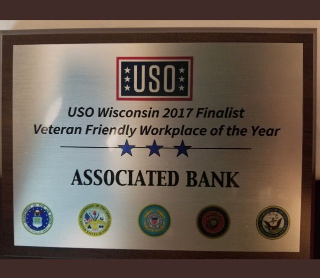 Associated Bank recognized as veteran friendly workplace at USO Gala