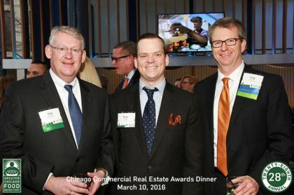 Paul Schmidt, Brian Rogan and Greg Warsek of Associated Bank in support of last year's Chicago Commercial Real Estate Awards Dinner