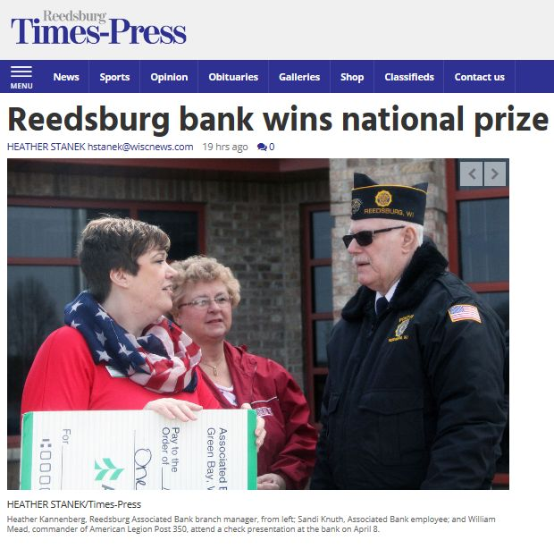Associated Bank Reedsburg, Wis., donates $1,000 to American Legion Post