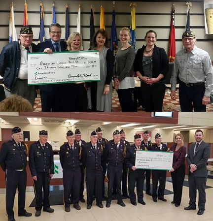 Associated Bank presents checks to local American Legion Posts