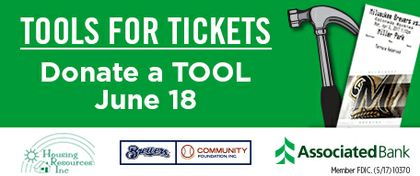 Fans can score tickets to a Brewers game by donating tools at Miller Park on Father's Day